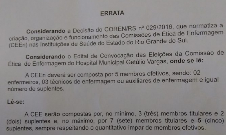 Correção no edital para eleição da Comissão de Ética de Enfermagem do HMGV